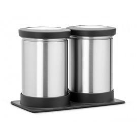 Brabantia 415623 - Pojemnik Clear Top 2x0,5l, stal matowa/FPP, zestaw 2szt + organizer