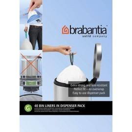 Brabantia 375668 40szt - worki plastikowe - białe rozmiar G (20-30l), dispenser pack
