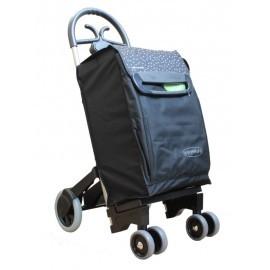 Aurora - FORZA 6 czarny wózek na zakupy z izotorbą i aluminiowym stelażem