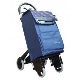 Aurora - Forza 4 granatowy wózek na zakupy z izotorbą i aluminiowym stelażem