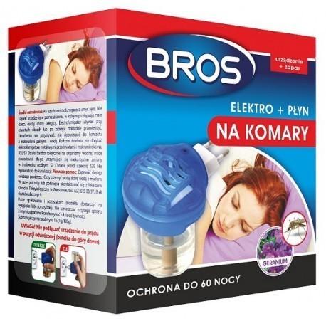 Urządzenie elektro + płyn na komary o zapachu geranium, BROS