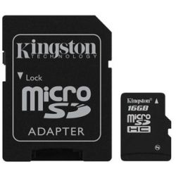 Kingston karta pamięci Micro SDHC 16GB Class 4 z adapterem SD