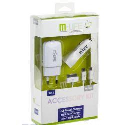 Zestaw M-LIFE ładowarka sieciowa USB 1A ładowarka samochodowa 2.1A Kabel USB 3w1