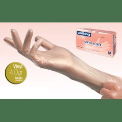 WALKING, Vinylowe hypoalergiczne rękawice ochronne, bezbarwne, rozmiar M