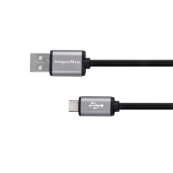 Kruger&Matz Basic Kabel USB - USB typu C 1.8m, czarny