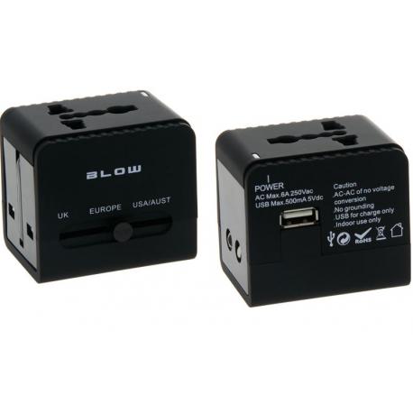 BLOW Przejściówka adapter uniwersalny do gniazd w Europie, UK, USA, Australia + USB