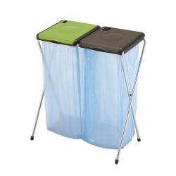 GIMI Nature 2 - stojak 2x120l, stelaż na worki, na śmieci. Brązowo zielony