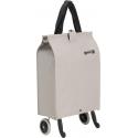 GIMI składana torba zakupowa, wózek składane koła BRAVA Plus beżowa