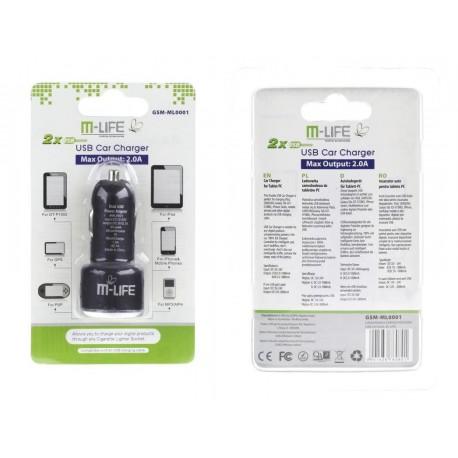 ŁADOWARKA SAMOCHODOWA USB 2A DUAL M-LIFE