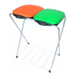 ARTEX GRID MATIK 2 z półką - stojak, stelaż na worki 2x120l z automatycznie podnoszoną klapą, pomarańczowo-zielony