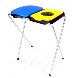 ARTEX EkoMatik2 stojak na worki 2x120 z półką, żółty, niebieski