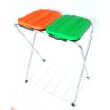 ARTEX SACKFIX 2 stojak na worki 2x120 z półką pomarańczowo-zielony