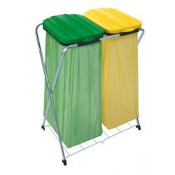 ARTEX SACK FIX 2 stojak na worki 2x120 z półką zielono żółty
