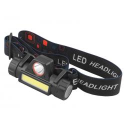 Latarka czołowa odpinana + magnes, 1 x LED 3W + 1 x COB 2W, wbudowany akumulator 900mAh, USB