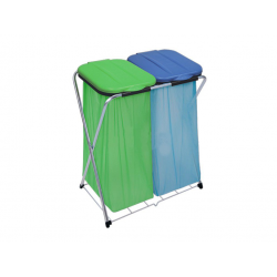 ARTEX ECOGRID 2 - stojak, stelaż na worki 2x120l z półką niebiesko zielony