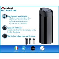 Meliconi, czarny kosz na śmieci SOFT Touch - 40l