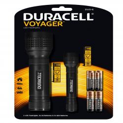 Duracell Latarka LED Voyager DUO-E, zestaw 2 szt., gumowy uchwyt+ 6x AA