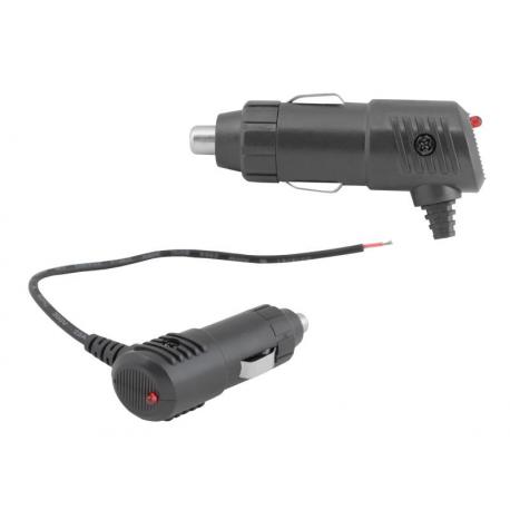 Wtyk zapalniczki samochodowej kątowy LED + bezpiecznik, z kablem