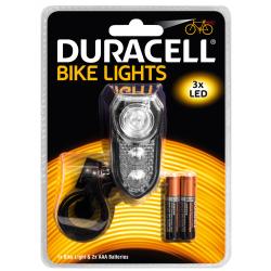 Duracell Lampka rowerowa LED F02 światło ciągłe / stroboskop przednie + 2x AAA