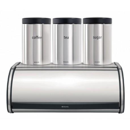 Brabantia, ZESTAW w kolorze chrom: chlebak, pojemnik na pieczywo wypukły + 3 pojemniki z okienkiem - edycja limitowana