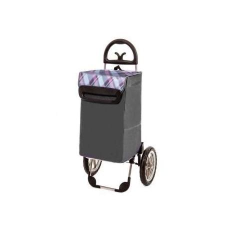 Aurora - BERLINO szary wózek na zakupy z izotorbą i aluminiowym stelażem