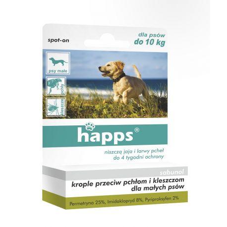 Krople przeciw pchłom i kleszczom dla małych psów do 10kg HAPPS
