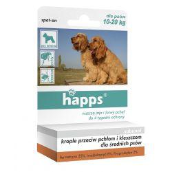Krople przeciw pchłom i kleszczom dla średnich psów o wadze 10-20kg HAPPS