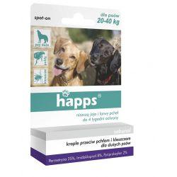 Krople przeciw pchłom i kleszczom dla dużych psów o wadze 20-40kg HAPPS