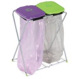 CASABRIKO EKO - 2plus. Stojak na worki 2x120l z półką, segregacja śmieci, odpadów