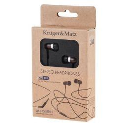 Kruger&Matz słuchawki douszne KM 108 EB drewniana hebanowa obudowa