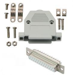 Gniazdo DB25 (F) na kabel z obudową - kompletne.