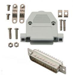 Wtyk DB25 (F) na kabel z obudową - kompletne.