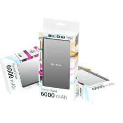 BLOW Power Bank 6000mAh 1xUSB PB05 SREBRNY bateria awaryjna