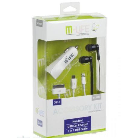 Zestaw M-LIFE do Apple iPhone 5 Słuchawki z mikrofonem ładowarka samochodowa 2.1A Kabel USB 3w1