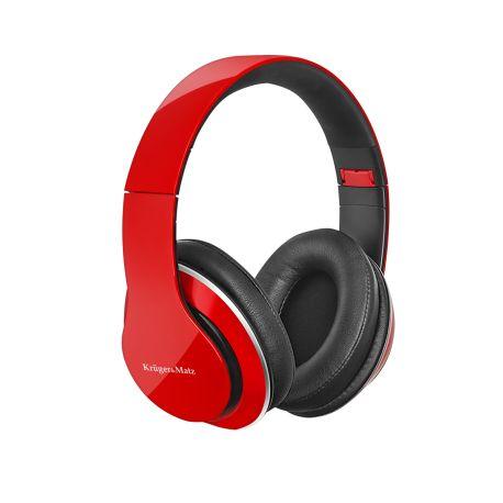 Słuchawki przewodowe nauszne Kruger&Matz model Street 2 Power Bass, składane, czerwone KM0639