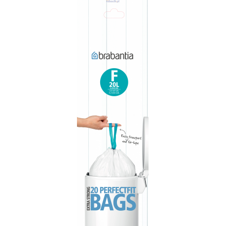 Brabantia, worki plastikowe - rozmiar F (20l slim)