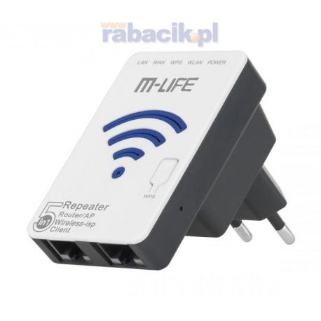 M-LIFE WZMACNIACZ sygnału Wi-Fi 5 w 1 REPEATER ML0585-5