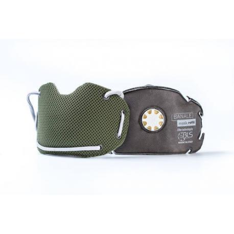 BANALE Maska przeciwpyłowa, antysmogowa, PM 2,5 PM10 - zielono-szara