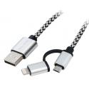 BLOW Przyłącze USB A - micro B + iPhon 5/6/7 - kabel 1m plecionka