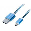 BLOW Przyłącze USB A - micro B długość kabla 1m plecionka - ni/cz