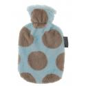 Fashy Termofor 0,8l w kolorowej błękitno beżowej osłonie pluszowej