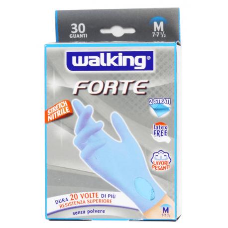 WALKING, FORTE Rękwice NITRYLOWE dwuwarstwowe, mocne, niebieskie, rozmiar M