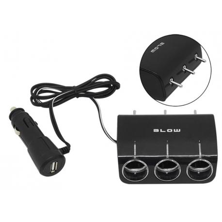 BLOW Rozgałęziacz gniazda zapalniczki samochodowej 3x gniazdo + 1x USB CS-34