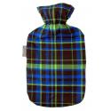 Fashy Termofor 2l w kolorowej, czarno zielono niebieskiej osłonie bawełnianej
