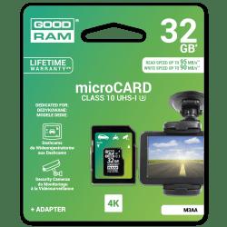 Karta pamięci microSD 32GB UHS-I Goodram z adapterem, do zapisu dużej ilości danych.